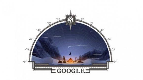 Doodle conmemorando los 125 años de la llegada al Polo Sur