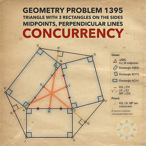 Geometric Art Typography and Sketch of Problem 1395. Triangle with three rectangles on the sides, Midpoints, Perpendicular lines, Concurrency, iPad Apps.