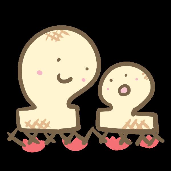 お餅の親子のイラスト かわいいフリー素材が無料のイラストレイン