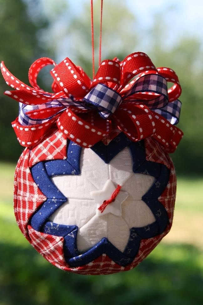 Patriotic Red, White and Blue Quilted Ornament.