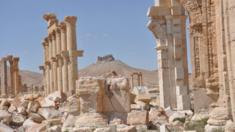 A general view for the historical city of Palmyra with the Fakhr-al-Din al-Maani Castle also known as Palmyra Castle in the background