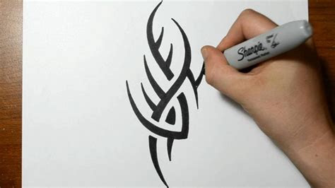 draw simple spiky tribal tattoo design tribal