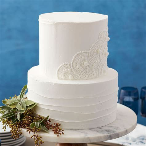 Scalloped White Wedding Cake   Wilton