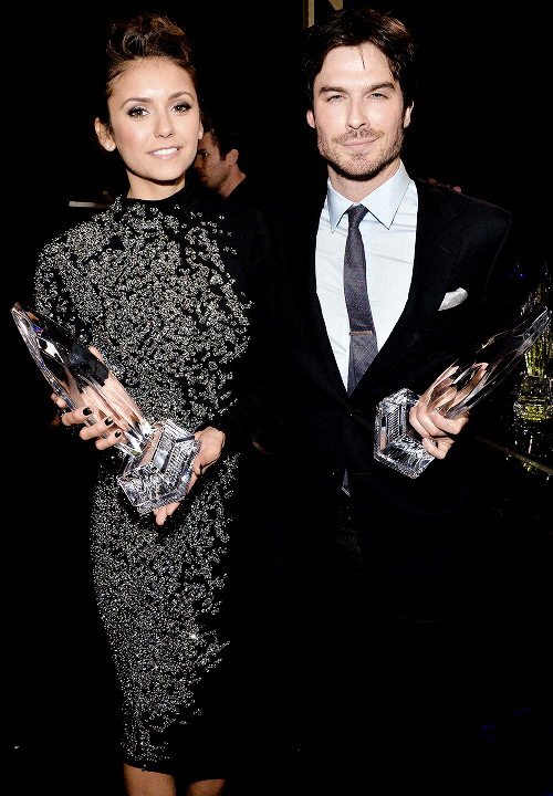 Nina Dobrev and Ian Somerhalder at the People's Choice Awards 2014.