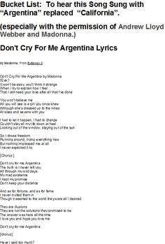 Don T Cry For Me Argentina Spanish Lyrics