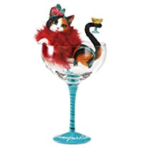 Hiccup by H2Z 9-1/4-Inch Cosmopurritan Cocktail Glass with Tall Calico Cat