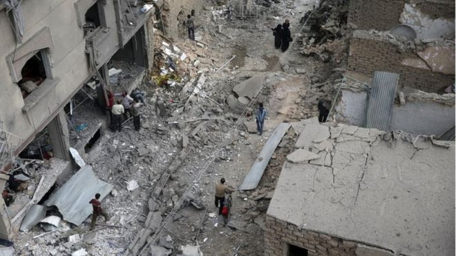 Damage to a field hospital in Douma, reportedly caused by an air strikes by Syrian government forces