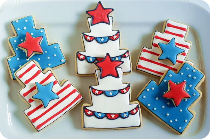 4th of july patriotic decorated cake cookies set + tutorial