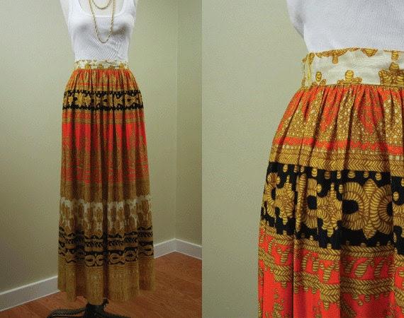 Vintage Printed Maxi Skirt