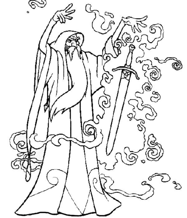 Merlin the Wizard Put a Magic Spell into a Sword Coloring Pages 600x702