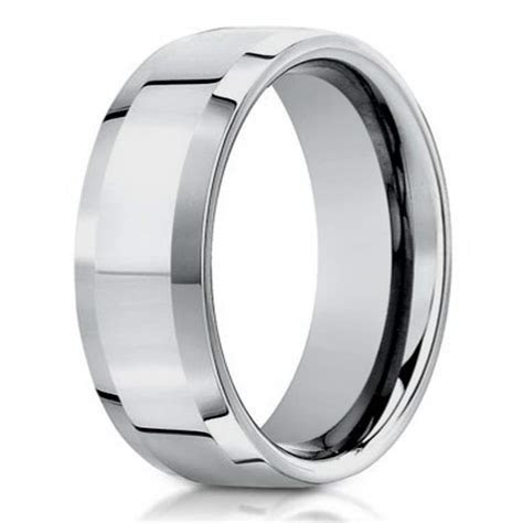6mm Designer Men's 14k White Gold Wedding Ring with
