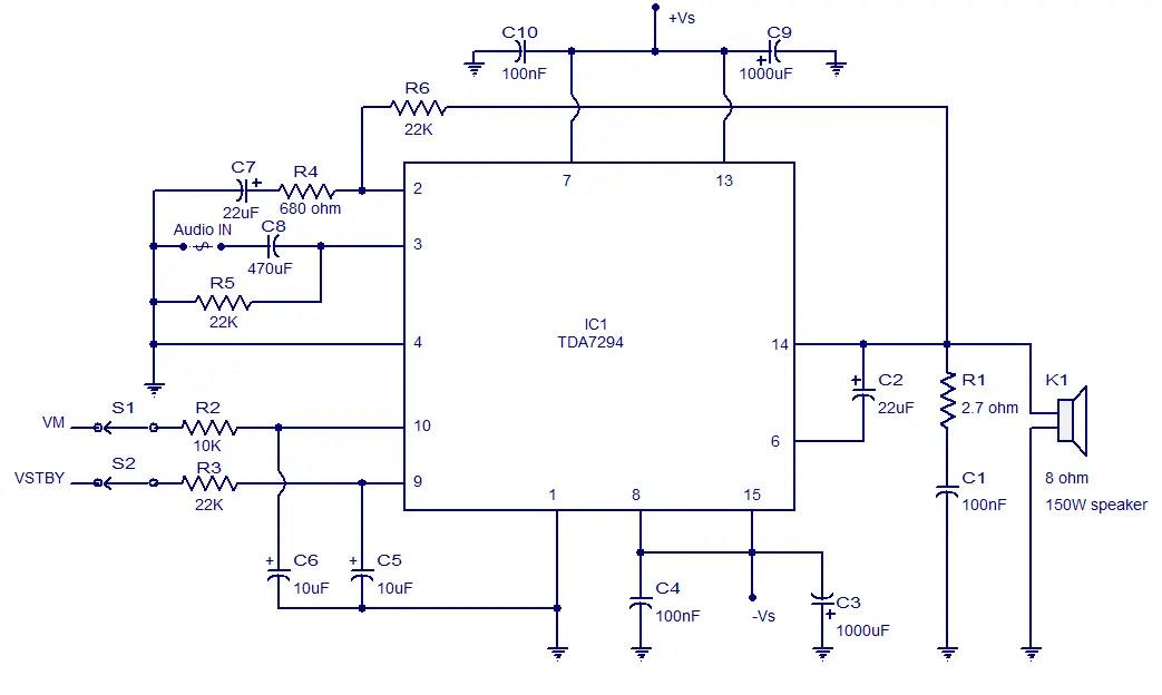 Draw your wiring : Circuit Diagram Of Ic Tda 7294 100 Watt Power
