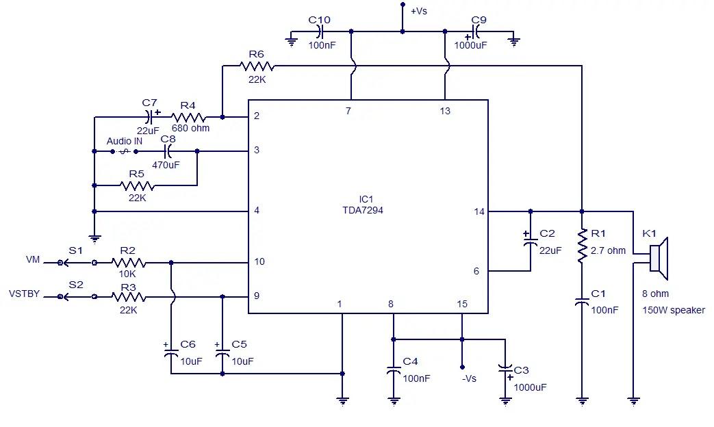 Circuit Tda7294 A 12volts Nerv