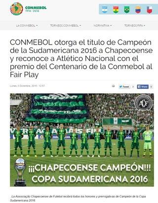 Conmebol ratifica o título sul-americano para a Chapecoense (Foto: reprodução)