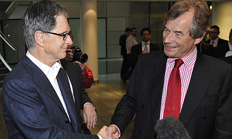 John Henry shakes hands with Martin Broughton