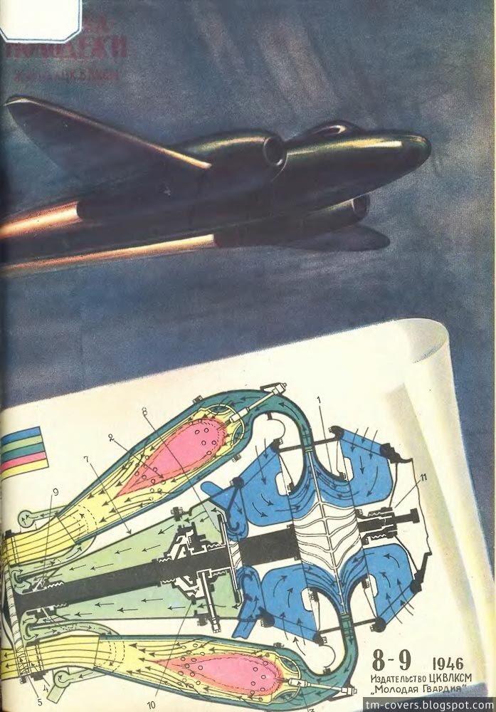 Техника — молодёжи, обложка, 1946 год №8–9