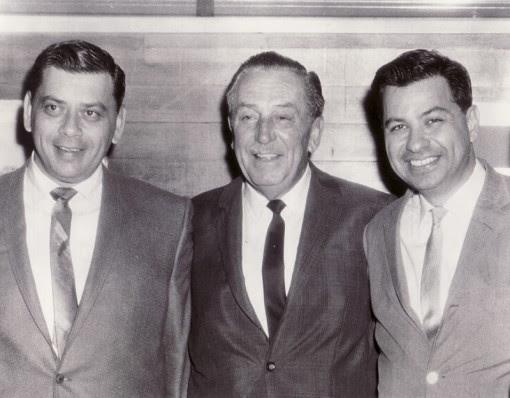 (from left) Robert Sherman, Walt Disney and Richard Sherman