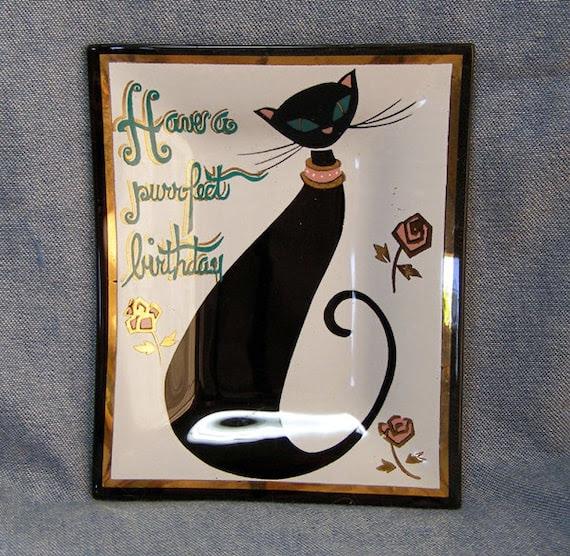 Black Cat Birthday Vintage Houze Glass Tray Ashtray