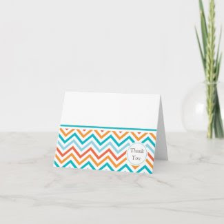 Blue and Orange Chevron Thank You Card