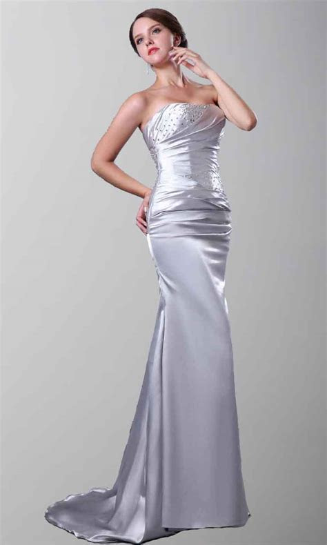 Strapless Satin Mermaid Long Grey Formal Evening Dresses