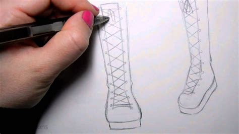 draw manga shoes tall lace  boot youtube