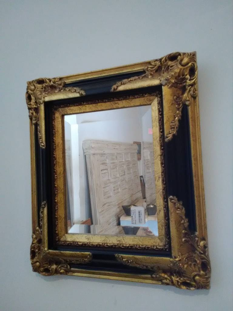 Ornate Gold Black Frame Mirror Sarasota Architectural Salvage