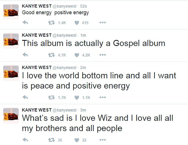Positive thoughts: After the rant, he later deleted the tweets and shared this series of posts