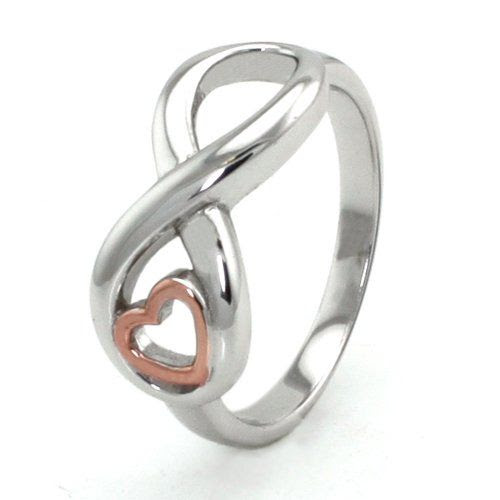 SPECIAL HEART INFINITE LOVE: Sterling Silver Infinity Ring w/ Rose Gold Heart ** SUMMER SPECIAL PRICE ** -