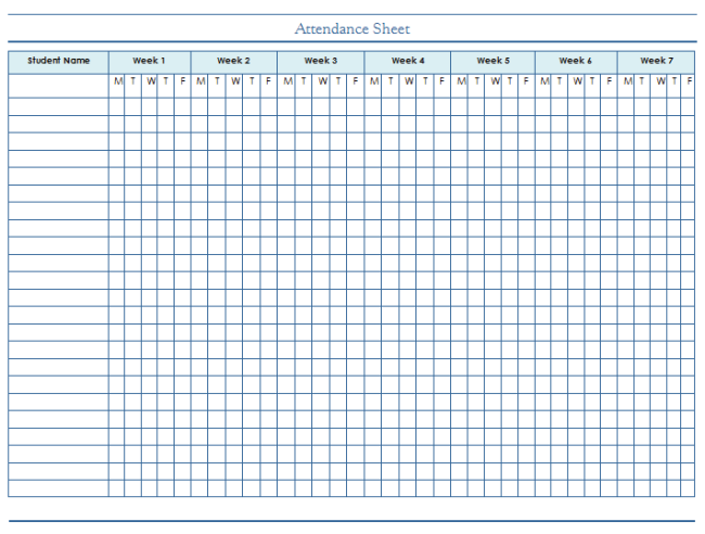 Attendance Sheet Template - For Students and Employees