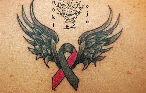 Cancer Ribbon With Wings Tattoo