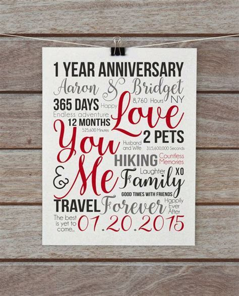 First Year Anniversary, 1 Year Gift, Wife, Husband