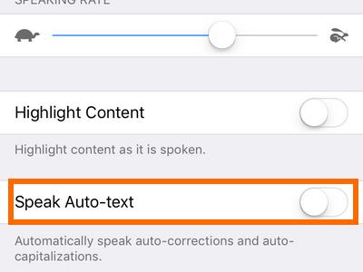 iphone settings Speak Auto Text