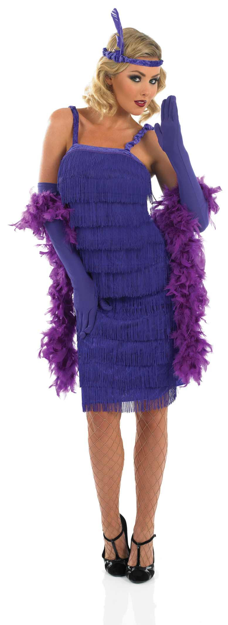 ladies roaring 20s girl purple costume for flapper moll