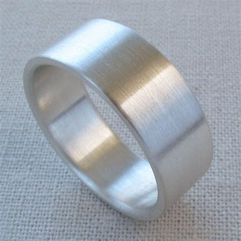 Men's Sterling Silver 8x1.5mm Engagement Ring or Wedding