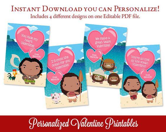 Moana Valentines, Polynesian Princess Valentines Day Cards ...