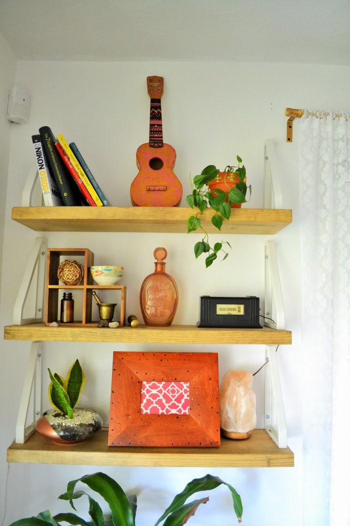 catch a tutorial for these oh so boho shelves at A Designer At Home