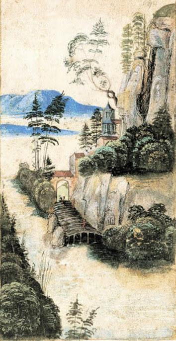 hans-traut-landschaft-mit-hohem-felsen-an-einem-fluss-um-1490