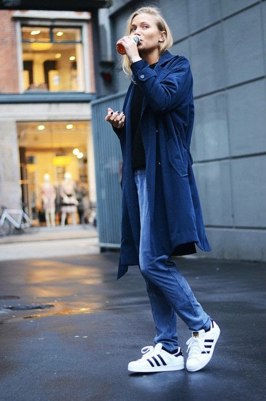 Le Fashion Blog 25 Ways To Wear Adidas Sneakers Super Star Trench Coat Suede Pants Street Style Via Emilie Lilja