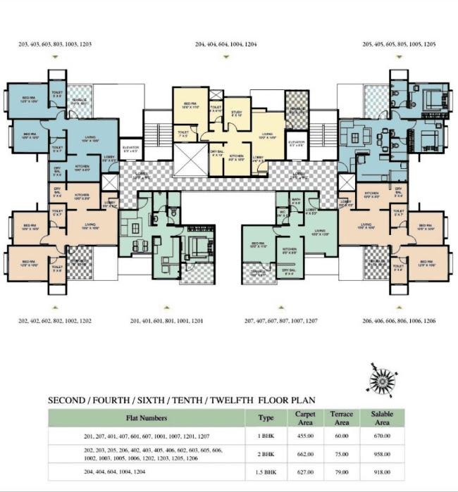 1 BHK Flat - 455 Carpet   60 Terrace - Rs. 27.75 Lakhs, 1.5 BHK Flat - 621 -627 Carpet   60 -79 Terrace - Rs. 36.19 - 37.62 Lakhs, 2 BHK Flat - 662 Carpet   194 Terrace - Rs. 43.59 - 44.20 Lakhs - Gloria at Nande near Hinjewadi Even Floor Plan