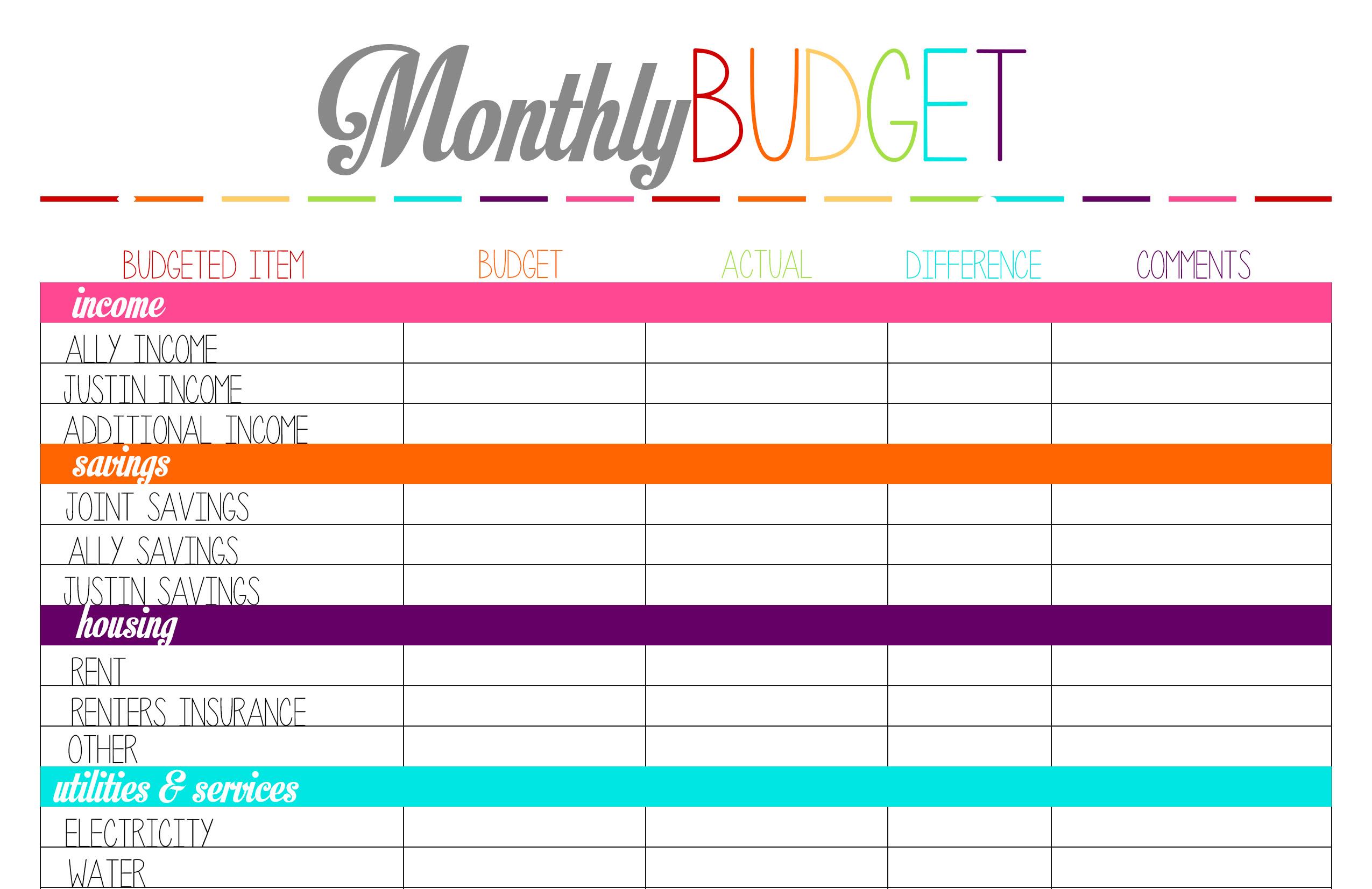 Free Printable Bi Weekly Budget Worksheet - Worksheet