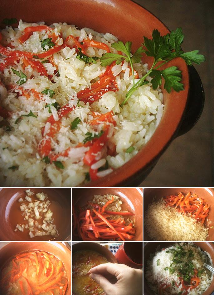 Riso ai peperoni rossi con cottura pilaf