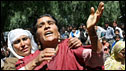 """The mother of one of three men who were allegedly killed in a """"fake encounter"""" in Kashmir in April"""