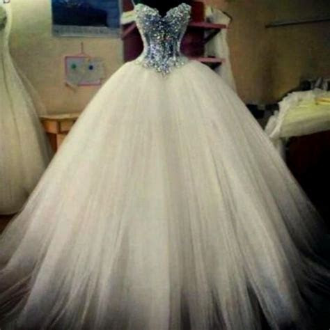 puffy white wedding dresses with diamonds Naf Dresses