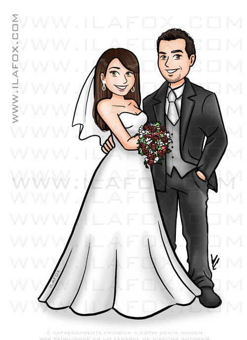 caricatura noivos, caricatura sem exagero, caricatura para casamento, caricatura bonita, by ila fox