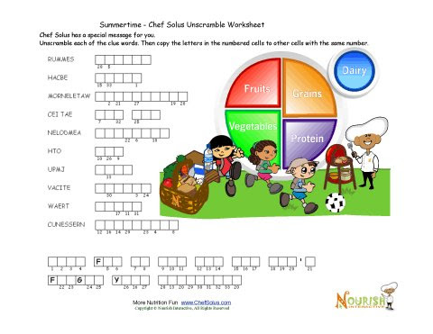 Summertime Kids Unscramble Words Puzzle Page