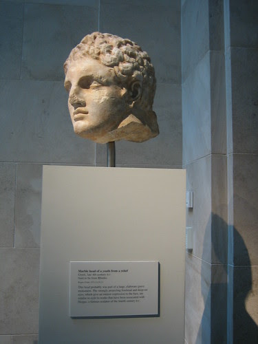 Marble head of a youth from a relief, Greek, late 4th century B.C., Said to be from Rhodes _8189