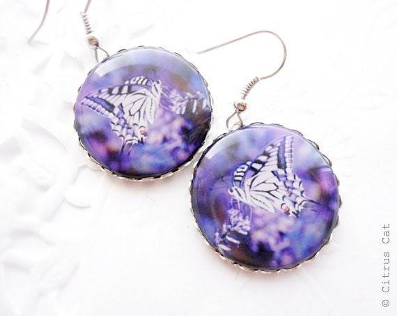 Purple butterfly earrings - summer jewelry - CitrusCat