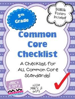 5th Grade Common Core Checklist