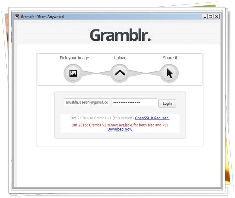 SS Menu Gramblr yang masih gagal login bagi saya.