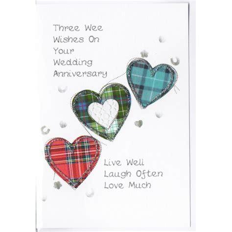 Scottish Wedding Anniversary Card Three Hearts WWWE42